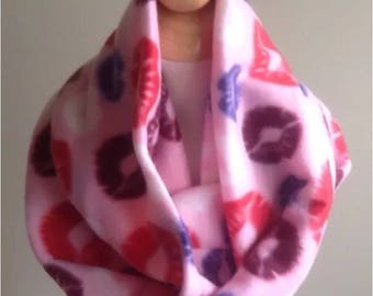 "Infinity Scarf-Fleece Kisses Lips Pink-6"" by 56""-Handmade USA-Tween Ladies"