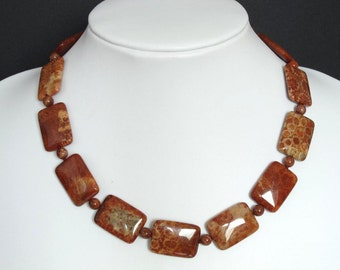 Necklace Red Fossil Coral 25mm Pillow 925 NSFC6030