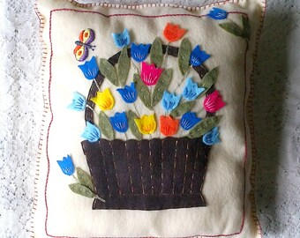 Basket of Tulips & Butterfly Felt Applique and Embroidered Throw Accent Handmade Pillow