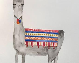 Llama Watercolor Wall Art