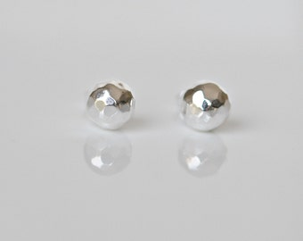 Silver ball earrings, sterling silver, hammered ball, 8mm ball stud earrings, everyday earrings, simple studs, classic jewelry - Caroline