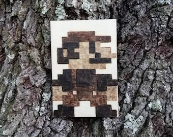 8 bit Mario Wood Burning