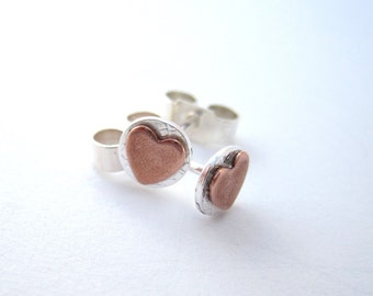 heart earrings silver copper, Sweet Heart Earrings, Little Copper hearts on Silver studs, Posts, everyday, small, tiny, round, sterling