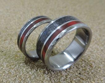 Titanium Ring Meteorite Ring Wood Ring Blue Wood Ring Mens