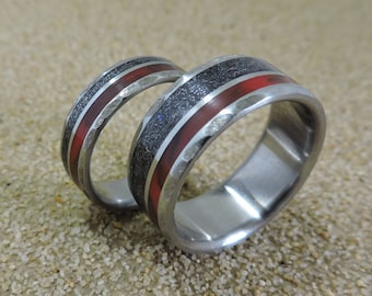 Titanium Rings, Meteorite Rings, Wedding Rings, Wedding Band Set, His and Hers Set, Handmade Ring, Unique Ring, Mens Ring, Womens Ring