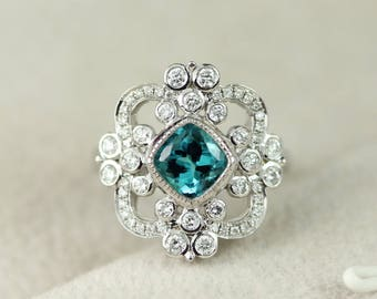 Cushion Cut Teal Tourmaline Engagement Ring in 14k White Gold With Diamonds