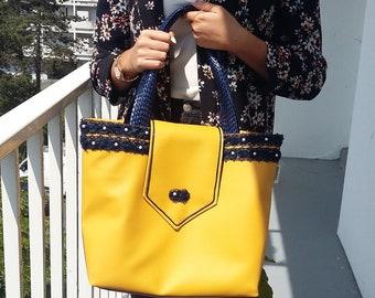 Mustard and Navy city bag