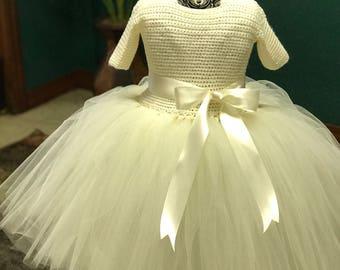 Baby girl ivory short sleeve crochet tutu dress toddler tutu dress dress toddler flower girl dress baby baptism dress free US shipping