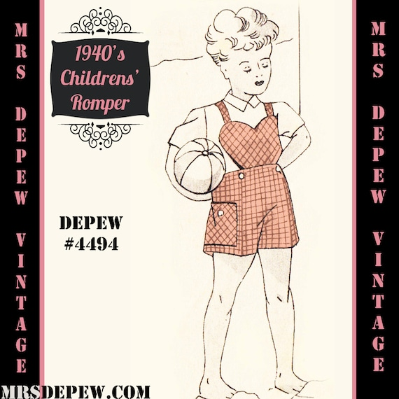1940s Children's Clothing: Girls, Boys, Baby, Toddler  1940s Childs Romper in Any Size Depew 4494 - Plus Size Included -INSTANT DOWNLOAD-Vintage Sewing Pattern 1940s Childs Romper in Any Size Depew 4494 - Plus Size Included -INSTANT DOWNLOAD- $7.50 AT vintagedancer.com