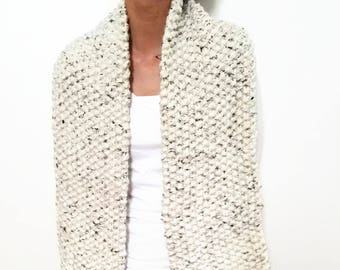 Bulky Mega, Tweed Scarf, Neutral Color, Neckwarmer, Cream Scarf, Off White, Gift For Her, Chunky Knit Scarf, Chunky Scarf, Winter Scarves