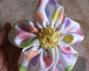 Pastel Polka-dot flower clip, Hair clip