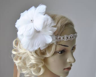Crystal 1920s flower Flapper Feather Headband, The Great Gatsby, 1920's,Bridal Wedding rhinestone headband headpiece