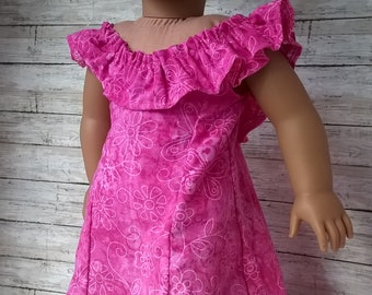 Tropical Paradise Pink Hawaiian Luau Dress for your 18 inch doll - 18 inch doll dress