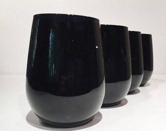 Vintage Libbey Purple Amethyst Round Tumblers, Black Amethyst Roly Poly Glasses, Libbey Purple/Black Tumblers Drinking Glasses Rocks Glass
