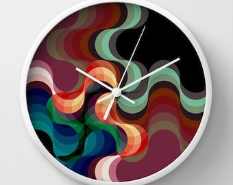 Dark Waves Wall Clock - Psychedelic Waves Retro Wall Clock - Original Design - Home decor by Adidit