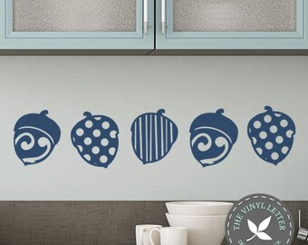 5 Acorns Autumn Fall | Vinyl Wall Home Decor Holiday Decal Sticker