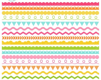 Summer Brights Borders Clipart Set - digital borders clip art set, scallop, zig zag - personal use, small commercial use, instant download