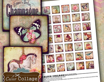 Whimsy Collage Sheet - 1x1 Inch Inchies - Whimsical Images - Collage Sheet Printable download Images for Resin and Glass pendants