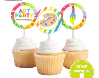 Printable Neon Art Birthday Party Cupcake toppers -   Art Party decorations, Art tags  [INSTANT Download]