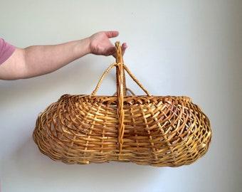 Large Woven Rattan Basket, Large Woven Flower Basket, Large Picnic Basket