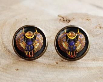 Scarab Stud Earrings, Ancient Egyptian Jewelry, Egypt Earrings, Egyptian jewelry, Scarab stud earrings, Historical earrings