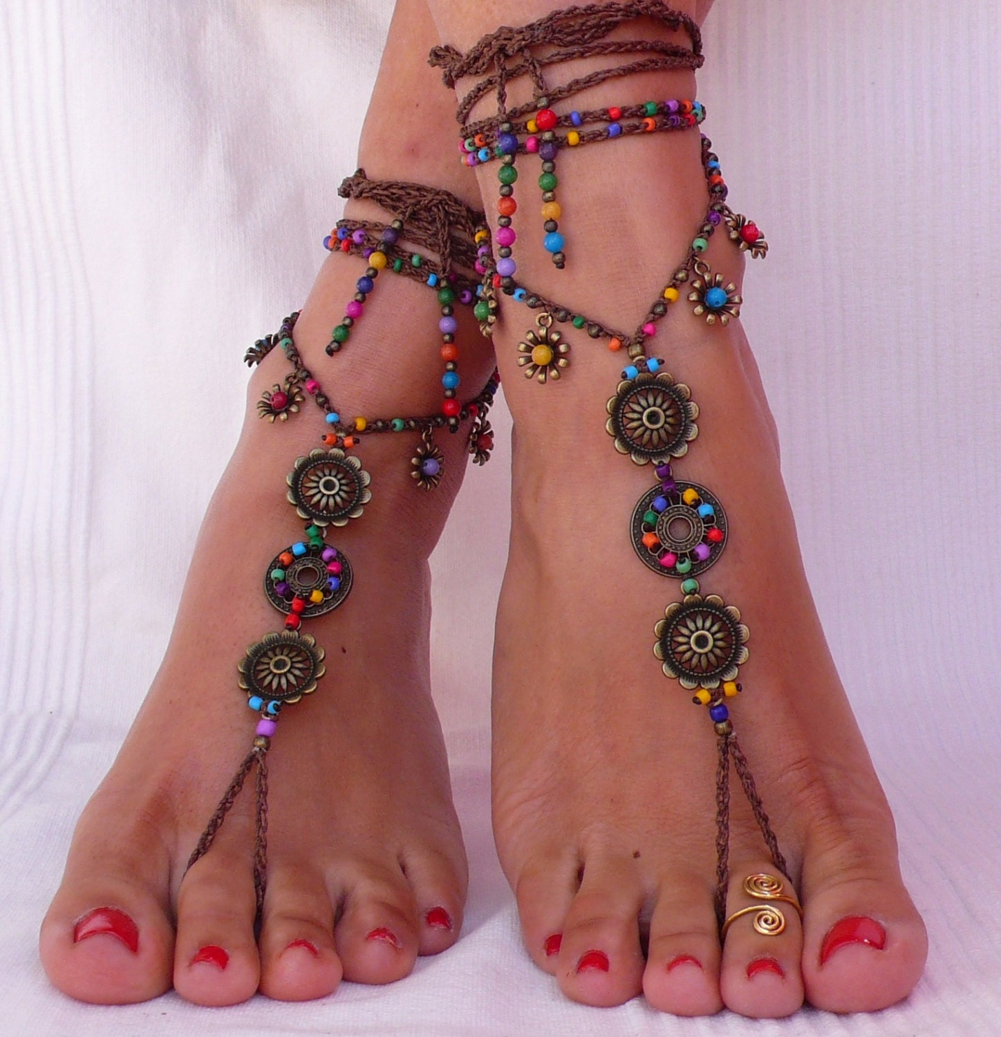 bridal barefoot pin jeweled vacation foot jewelry sandals bling anklet wedding