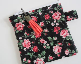 Cosmetic Bag, Coin Purse, Purse Organizer,  Rose Print Bag,  Floral Zipper Pouch, Make Up Bag, Toiletry Bag