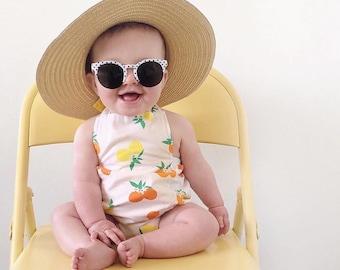 Citrus Baby Girl Romper | Lemons + Oranges | Bubble Summer Sunsuit | Clementine | Matching Headband Available | Newborn - 24 months