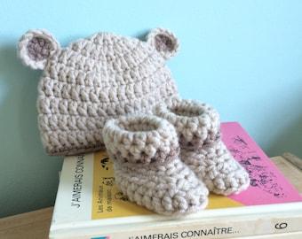 Baby bear hat and bootie set, 0-3 months, newborn, baby shower