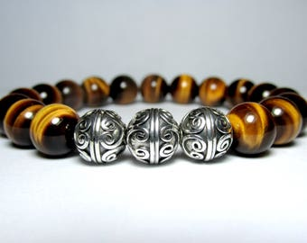 Sterling Silver Tiger Eye Bracelet, Mens Beaded Bracelet, Bracelet for Men, Gift for Men, Mens Jewelry, Stretch Bracelet, Gift for Him