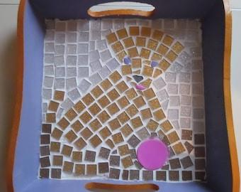 Mosaic decorative tray - Playing dog