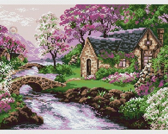 Cross stitch pattern spring landscape