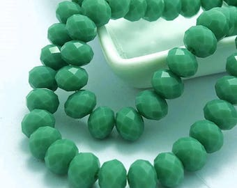 Choose your size: 8mm x 6mm or 6mm x 4mm rondelle faceted bead glass 8mm x 6mm - 6mm x 4mm - Pearl emerald green faceted 8 mm 6 mm Pearl