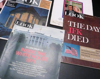 Look Magazine Set of five, 1963, 1966, 1967, 1971 Vintage Magazine, President Nixon,  1971 White House, JFK Memorial, Vintage Advertising