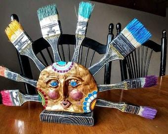 Color Burst, hand sculpted clay, table art