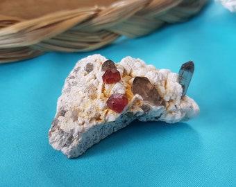 Spessartine Garnet and Smoky Quartz cluster - Passion - Grounding - Protection