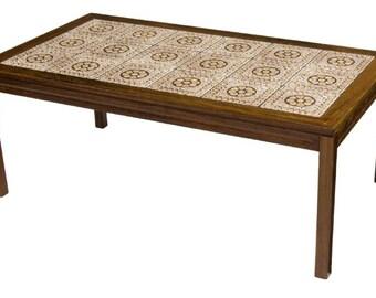 Danish H.M. Mobler Vintage Mid-Century Modern Rosewood Tile Top Coffee Table