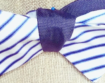 Reversible Cloth Self-Tied Bow Tie (Blue & White Striped)