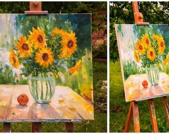Sunflowers in vase, Yellow flowers painting, Original artwork, Floral wall art,Oil artwork,Sunflower still life,Gift for woman,Kitchen decor