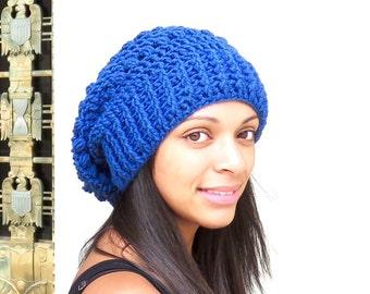 Crochet Slouchy Hat, Tam Hat, Oversize Hat, Crochet Hat, Color is Colonial Blue,