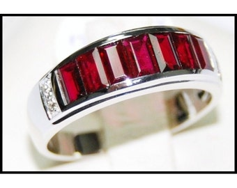 For Men Ruby and Diamond Unique 18K White Gold [RQ0002]