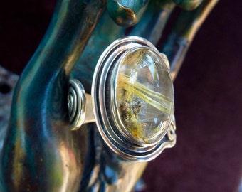 Rutilated Quartz Ring, Silver Rutilated Quartz, Quartz Cabochon, Quartz Ring, Golden Rutile, Adjustable Ring, Rutilated Gemstone, Rutile