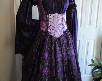 DDNJ 4pc Elegant Witch Gypsy Wench Pirate You Choose Fabric Reversible Bodice Renaissance Plus Custom Made Any Size Anime Costume Halloween