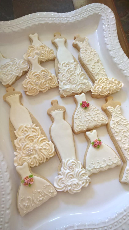 Ecru and White Wedding Entourage Dress Cookies- 10 Bridal Shower ...