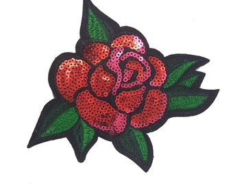 Iron on Sequined Red Rose Bloom Badge Applique, Shimmer Rose Patch, Iron On Rose Flower
