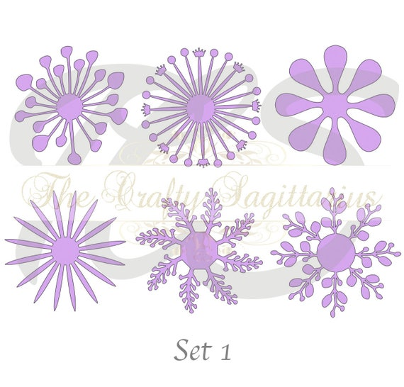 Svg Set 1 6 Different Flat Center For Paper Flowers Machine