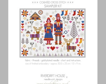 CROSS STITCH KIT Saami Lapland Folkies Sampler by Riverdrift House