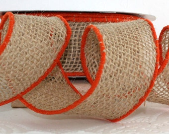 """Wired Burlap Ribbon/Orange Border, 2"""" wide by the yard"""