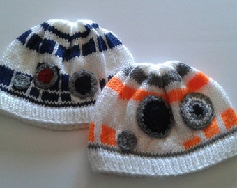Star wars  force awakens bb8 and r2 d2 hats made to ordered. Handknitted  hats, robot hats, blue robot, gold robot hats, toddler size hats
