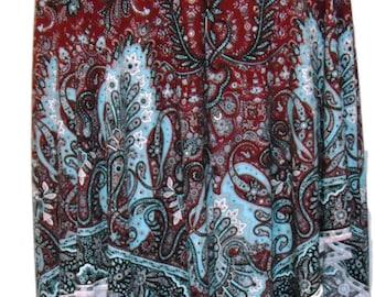 Women's Plus Stretch Handkerchief Skirt in Aqua & Burgundy Paisley